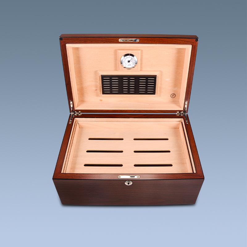 Wooden Material Empty Custom Tobacco Walnut Humidor Cuban Cigar Boxes