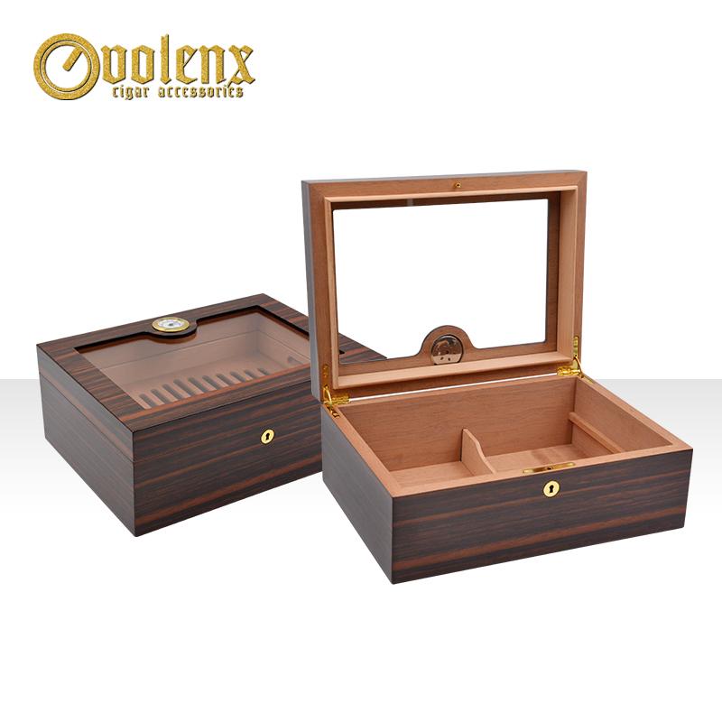 2019 Wholesale luxury plexiglass wooden cigar humidor