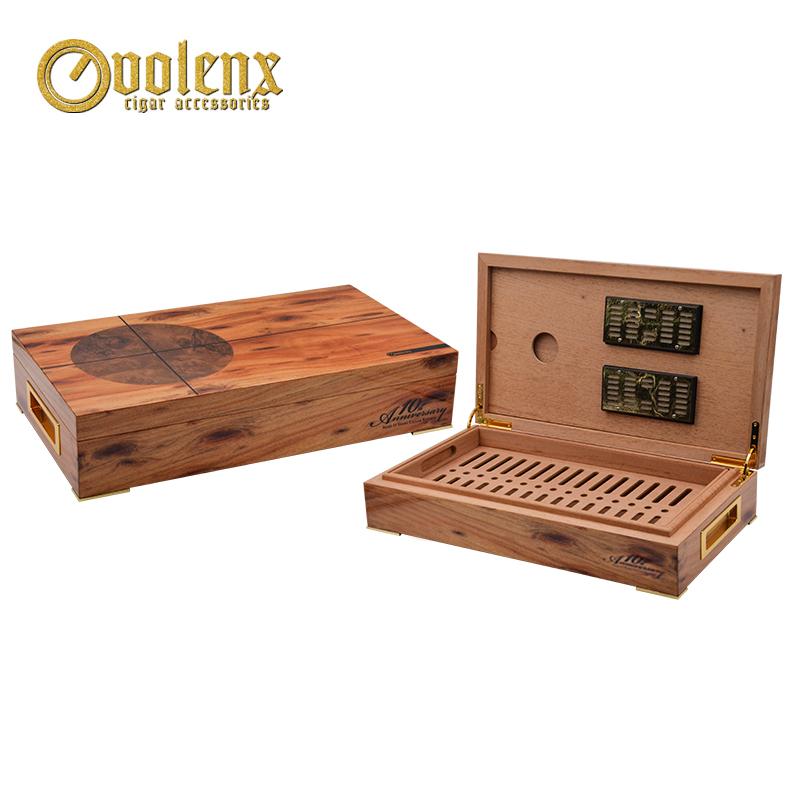 Custom unique design quality box cedar wood  cigar humidor