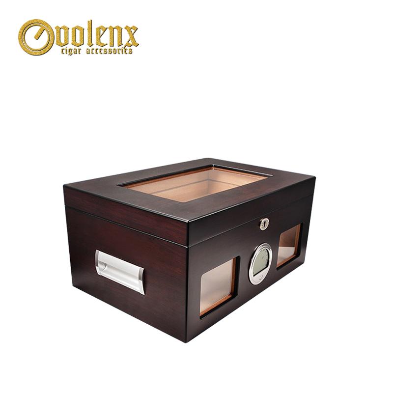 Volenx customized glass top fancy wood cigar humidor