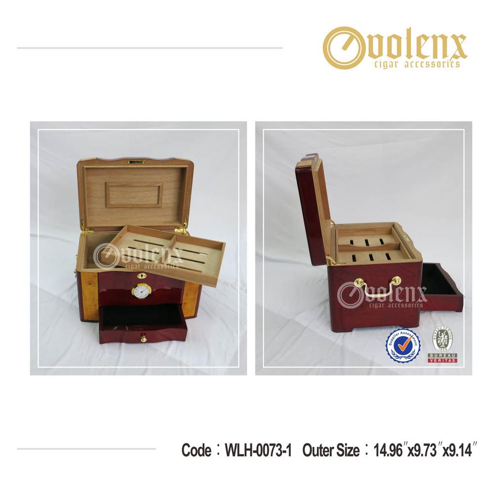 Custom Logo Desktop Cigar Humidor Cedar Wooden