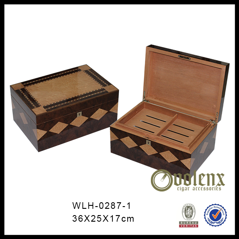 Personalized 50CT Cedar Wood Cigar Humidor with Hygrometer 11