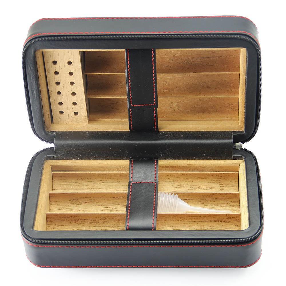 Custom Travel Leather Wooden Cigar Storage Box