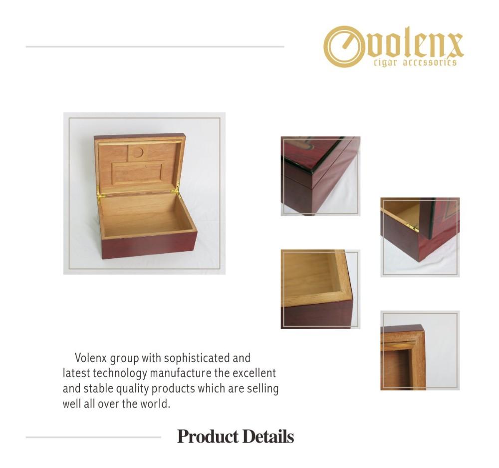 Quality Cherry Wood Humidor Photopaper Cigar Storage Box 3