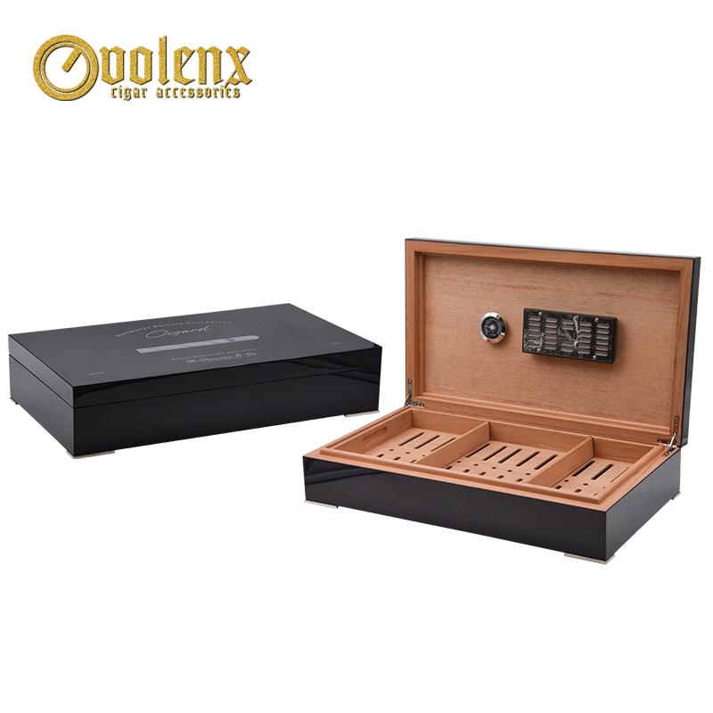 Tobacco show new design high glossy custom wooden cigar humidor box
