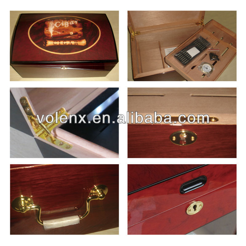 Photo Paper Covered With Matt Finished Mahogany Wood Cigar Box