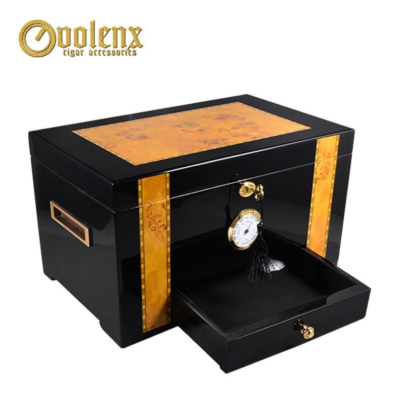 Portable Mahogany Veneer Wood Travel Cigar Humidor Set with Cigar Accessories Humidifier and Hygrometer Brown