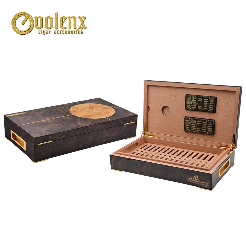 2018 Hot Sale & Popular Wooden Cigar Humidor with metal handle