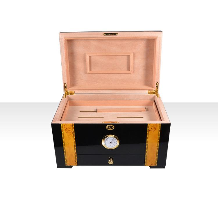 High Glossy Mahogany Veneer Wood Cigar Humidor with Accessories 12