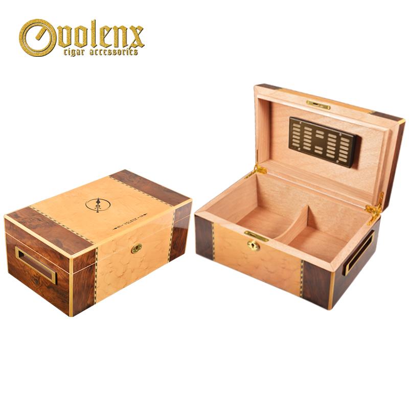 Piano burl grain walnut veneer wooden cigar humidor box