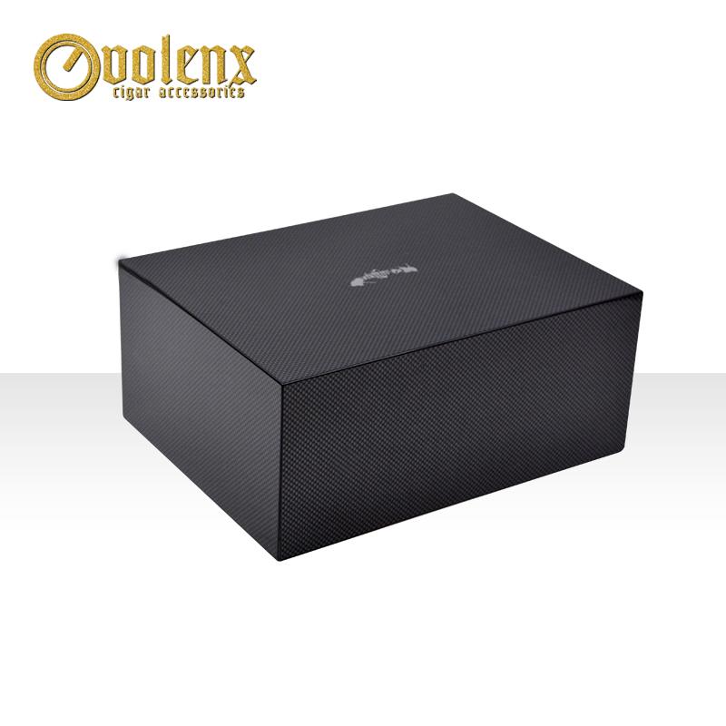 Wholesale high metal handle wooden drawer carbon fiber slide cigar  box 3