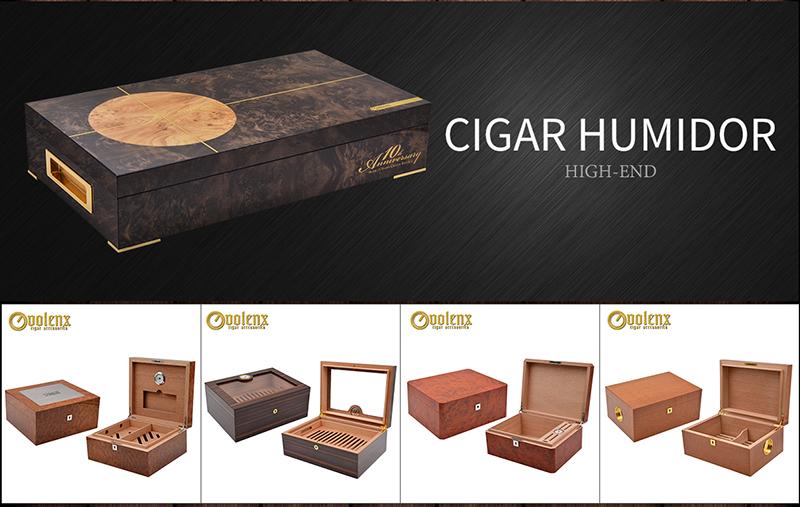 Wholesale Custom Cherry Wood Glass Top Cigar Humidor Box 3