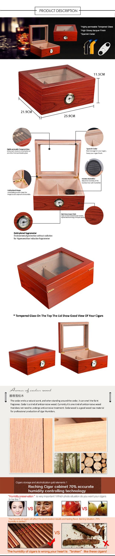 Wholesale Custom Cherry Wood Glass Top Cigar Humidor Box