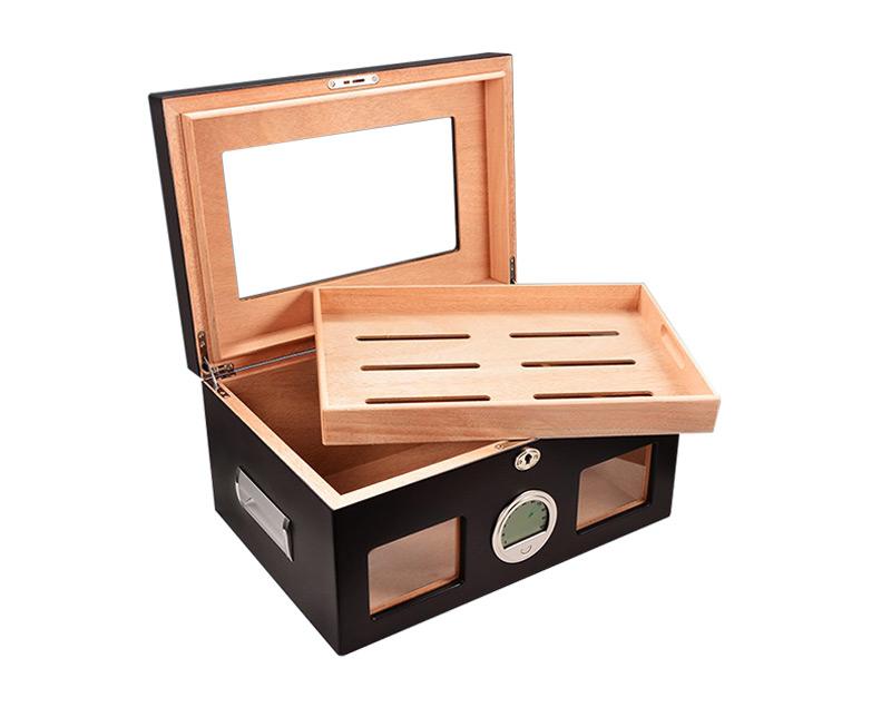 Wholesale Black Glasstop Wooden Cigar Box Craft 2