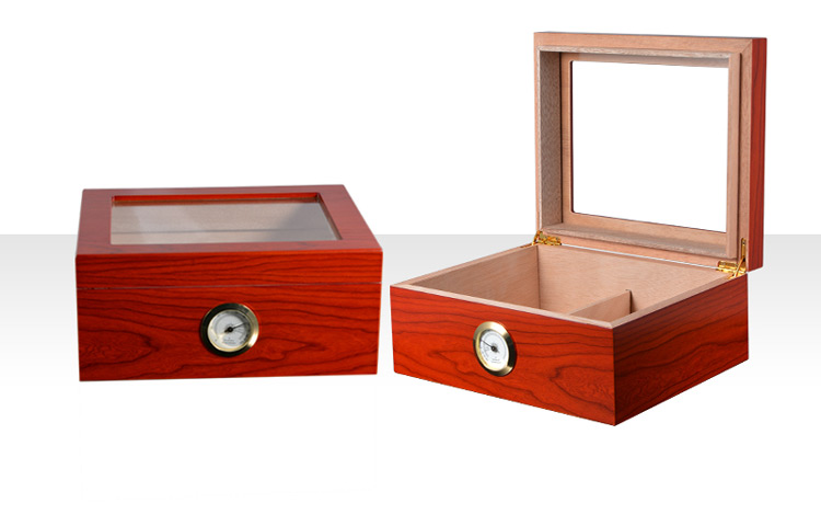 Eco-friendly Luxury Wooden Boxes Tempered Glass Top Cigar Humidor 3