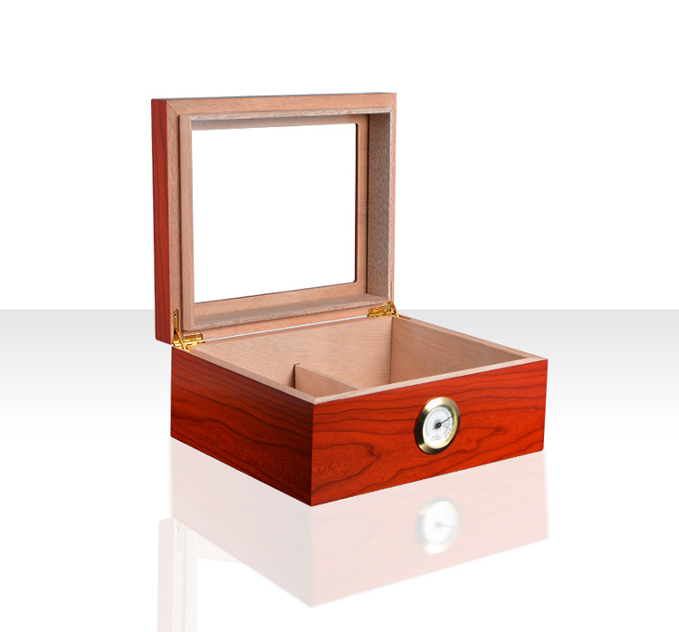 Desktop humidor box with transparent glass cigar humidor 3