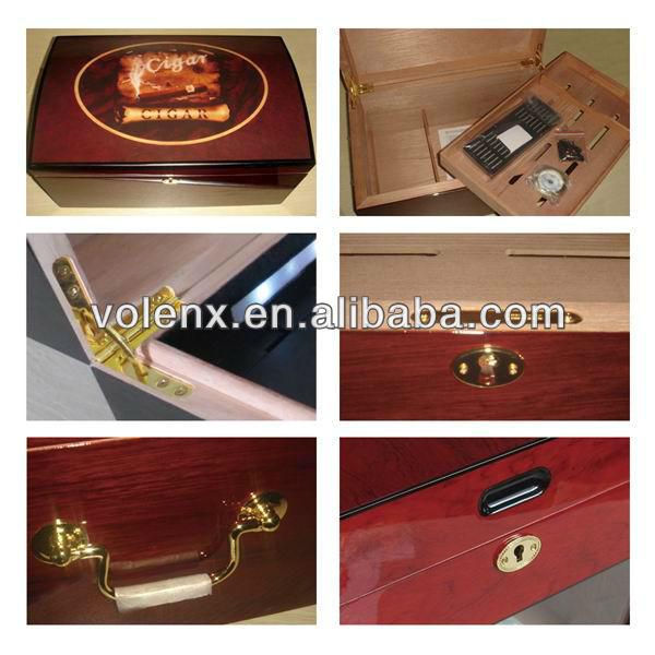 Glass top high quality display cigar humidor box 10