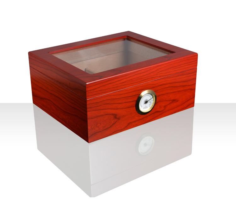 Handmade cigarette wooden box Glass top cigar humidor lockers (Hygrometer & Humidifier) 7