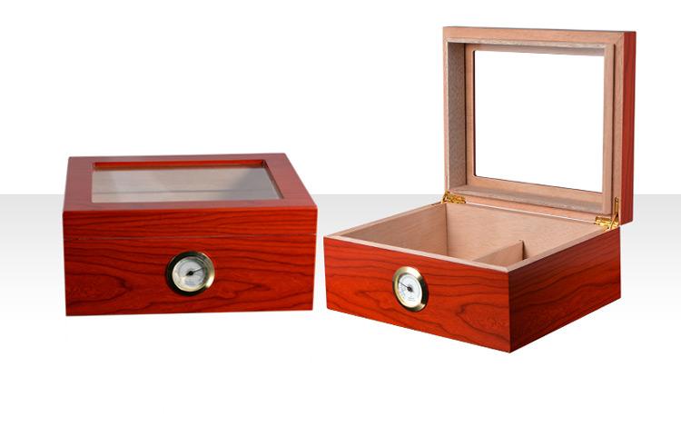 Handmade cigarette wooden box Glass top cigar humidor lockers (Hygrometer & Humidifier) 3