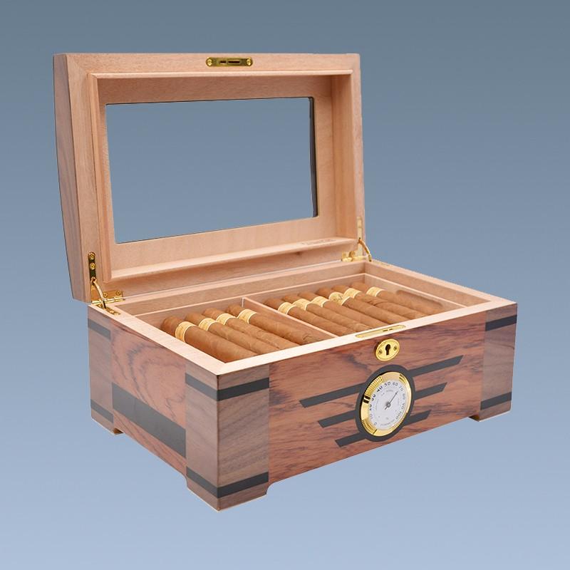 High-end Glass Top Cedar Wood Cigar Humidor cabinet box 5