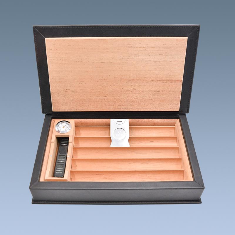 Customized Hot Sale Cigar Case Wood Leather Cigar Humidor 3