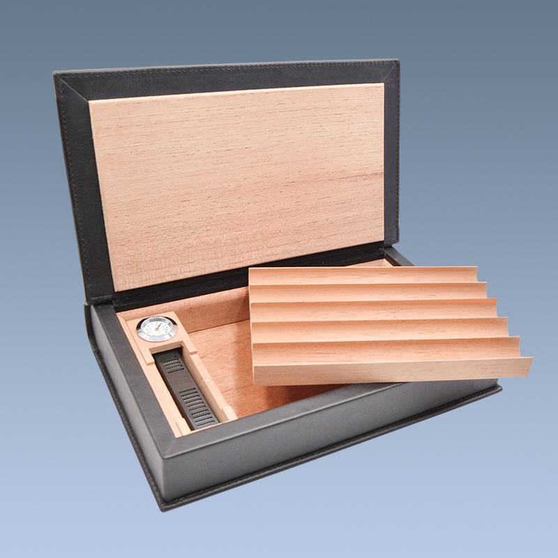 Customized Hot Sale  Cigar Case Wood Leather Cigar Humidor 5