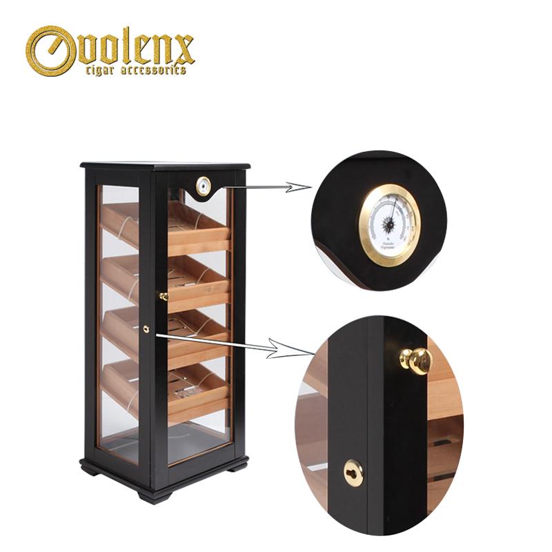 Custom Antique Large Black Cigar Humidor Cabinet