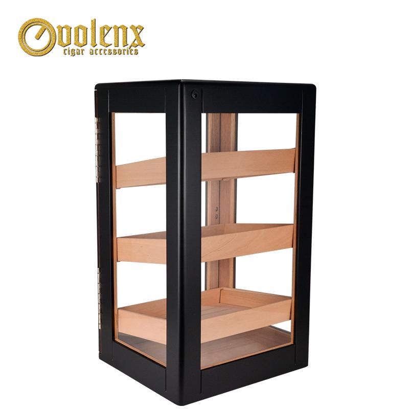 Hot spanish cedar wood three trays display cigar humidor cabinet 3