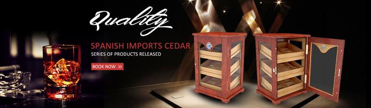 Matte Finish Luxury 300 CT Cigars Storage Humidor Cabinet