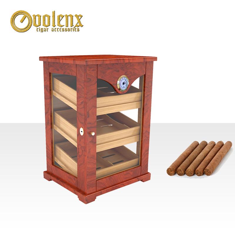 Premium Glass Wall Wooden Display Cigar Humidor Cabinet