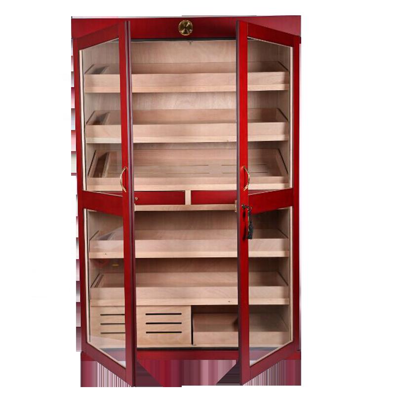 Large-Capacity-Mahogany-Wood-Display-Cigar-Cabinet