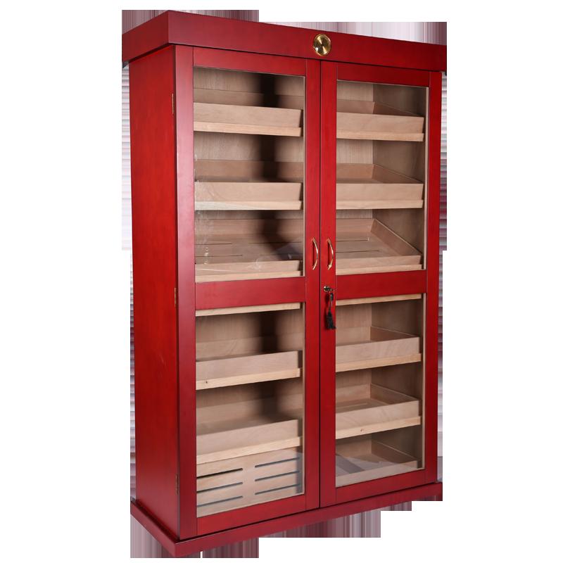 Large Capacity Mahogany Wood Display Cigar Cabinet with 2 Doors 7