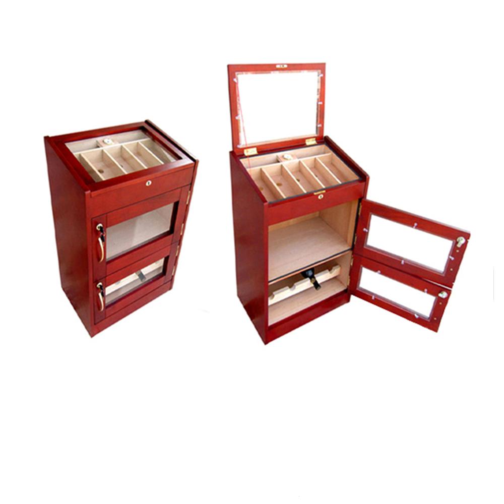 Custom Red Wooden Storage Cigar Display Cabinet Humidor