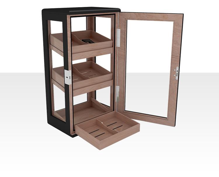 Electrical Matt Finished Mohagony Wood Display Cigar Cabinet 3