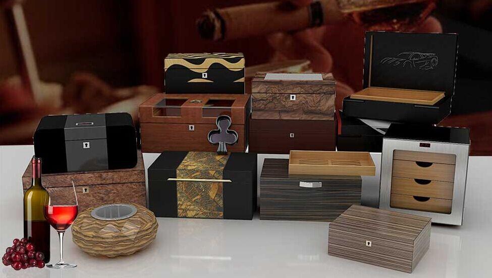 Premium Grade 300 capacity mini cigar cabinets humidors with 4 drawer