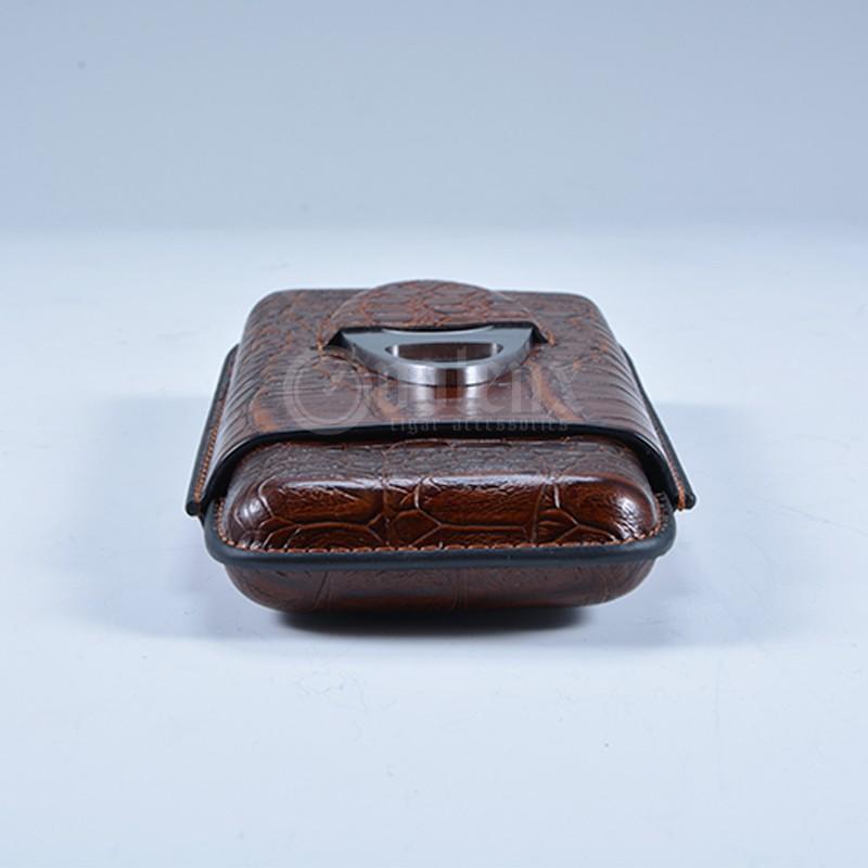 Custom Flask Antique PU Leather Cigar Case With Cutter 3