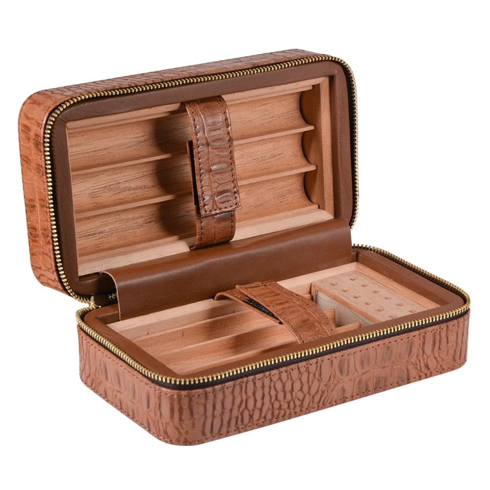 Volenx-Stock-Brown-PU-Leather-Cigar-Case