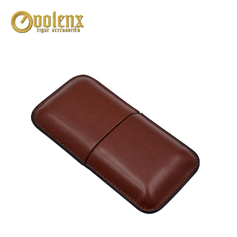 Travel brown manufacture 3 fingers Leather Cigar Tip Holder Case