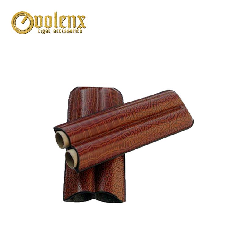 High-end black manufacture 2 fingers Leather Cigar Tip Holder Case