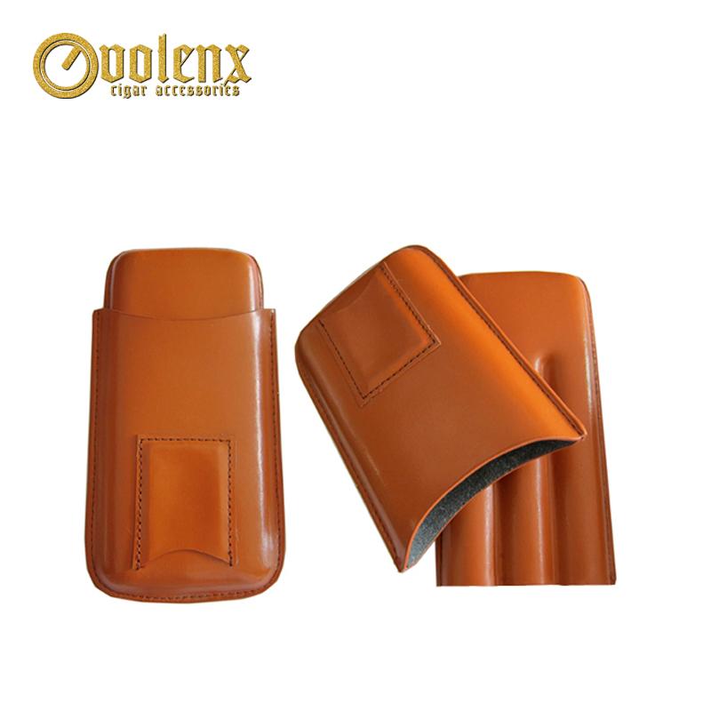 High-end black manufacture 2 fingers Leather Cigar Tip Holder Case 13
