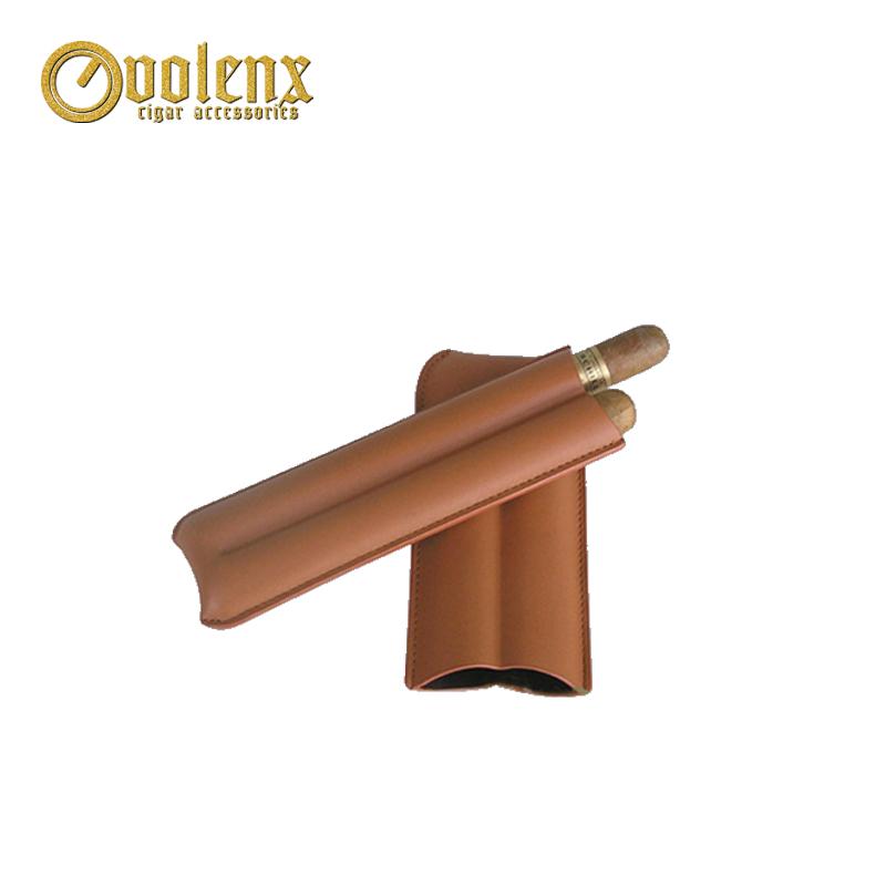 High-end Black Manufacture 2 Fingers Leather Cigar Tip Holder Case 9
