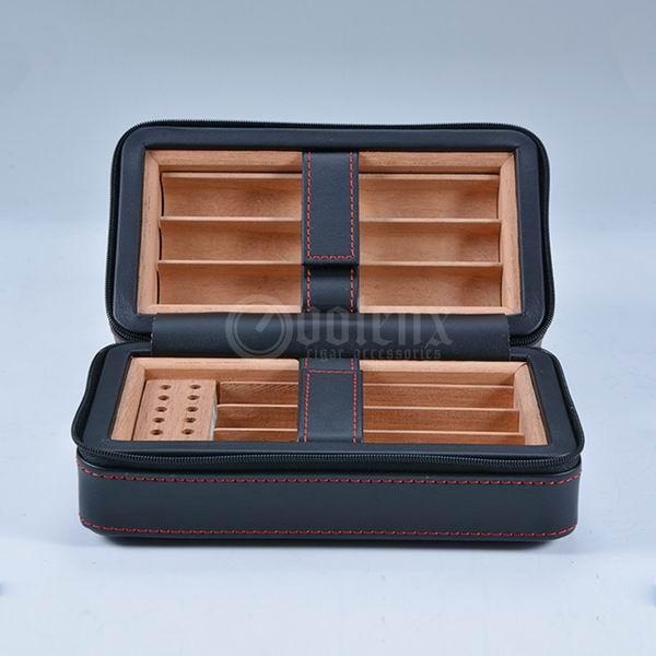 High-quality-custom-black-leather-travel-cigar