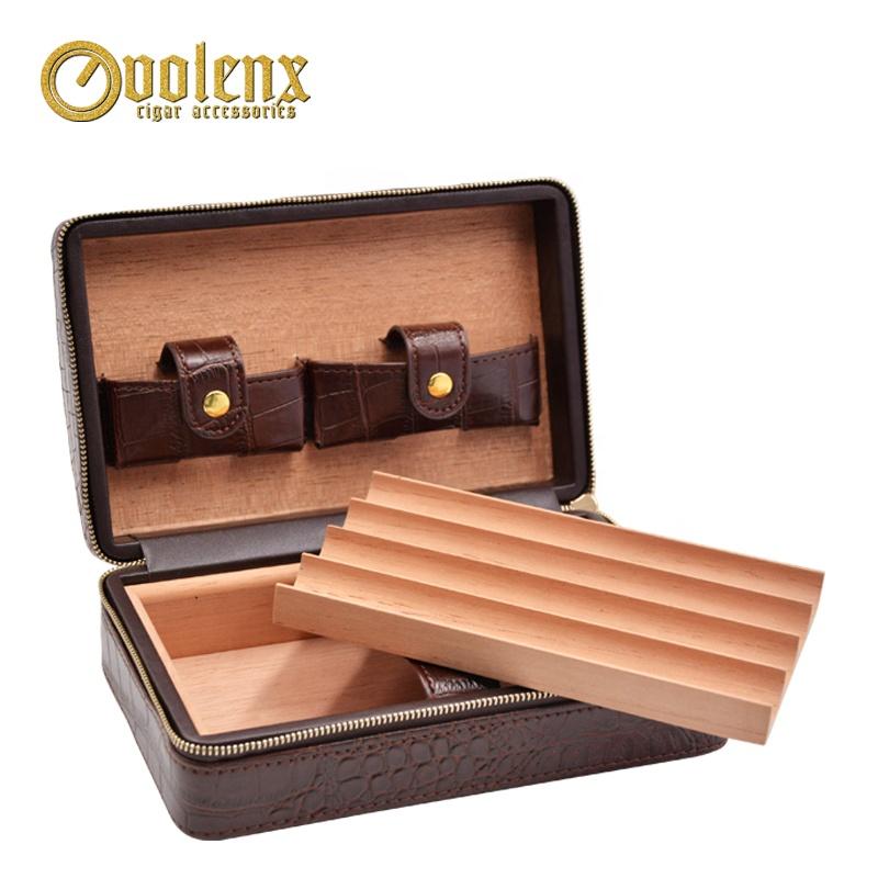 1pc-Cedar-Tray-Zipper-Cigar-Case-Brown