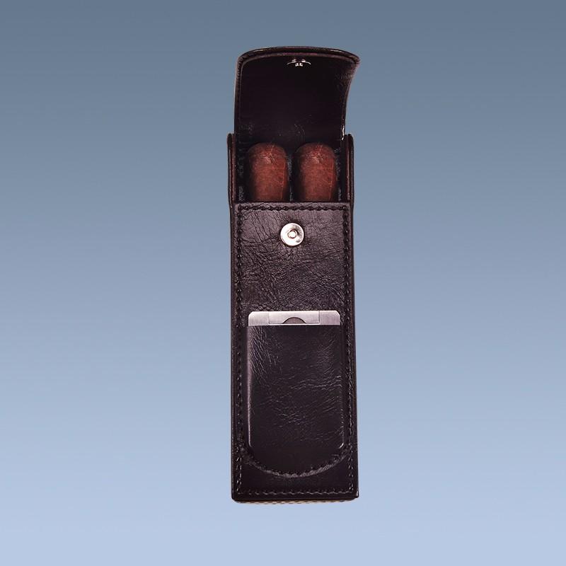 Handmade Custom Leather Cigar Case With Cigar Cutter 3