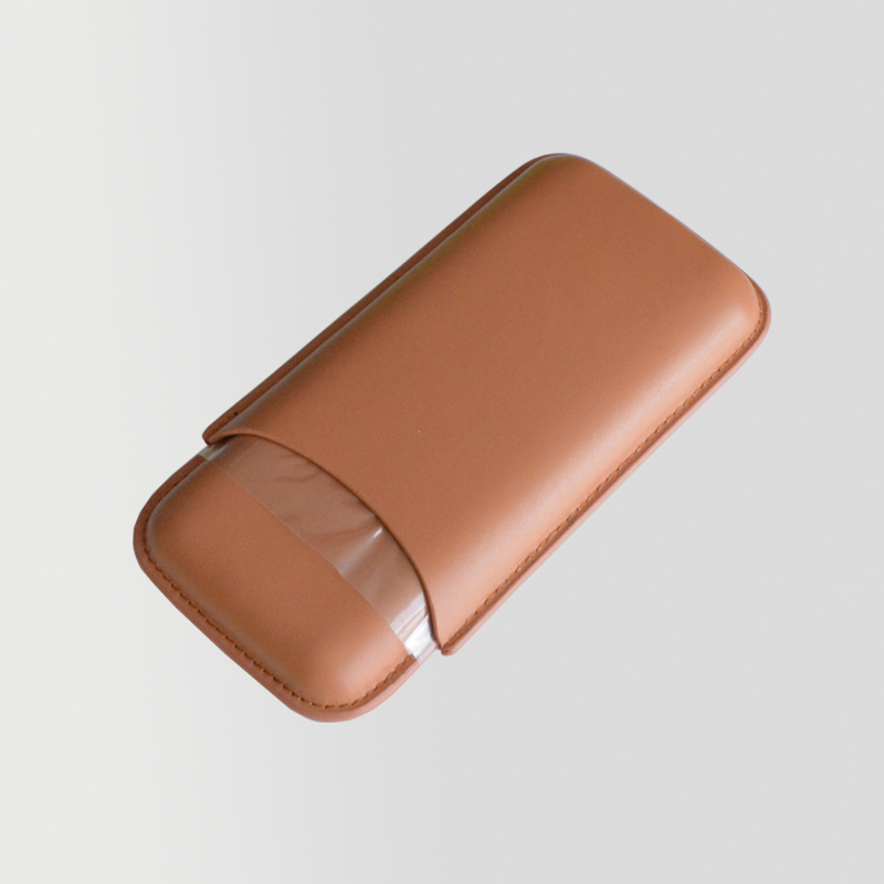 High end travel 3CT cigar tip holder leather cigar case with cutter 7