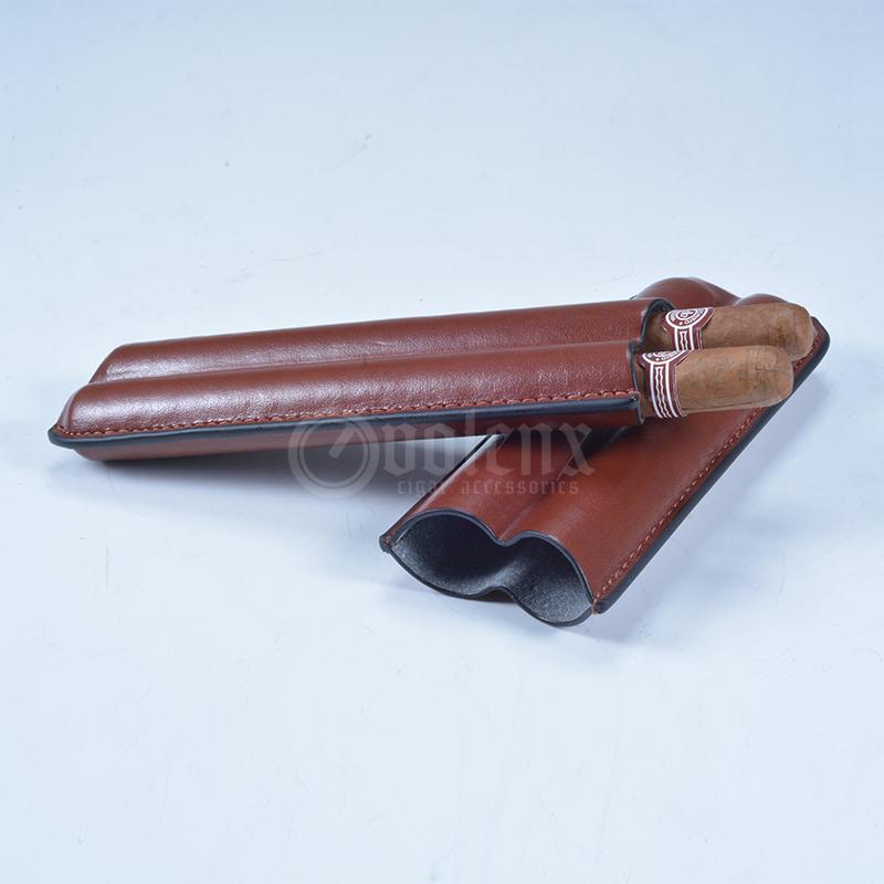 Custom-Logo-Brown-PU-Leather-2ct-Cigars