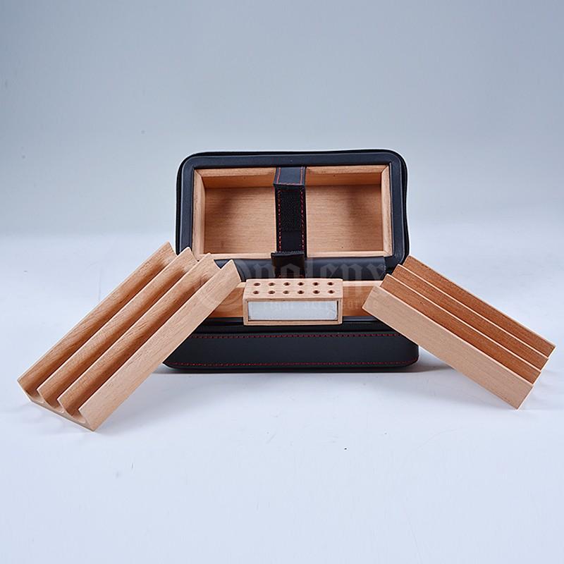 High end luxury handmade creative travel leather cigar humidor 11