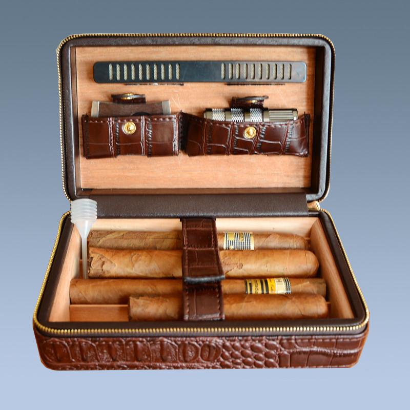 Cheap Cigar Gift Set 5 Cigars Brown Travel Cigar Cases 5