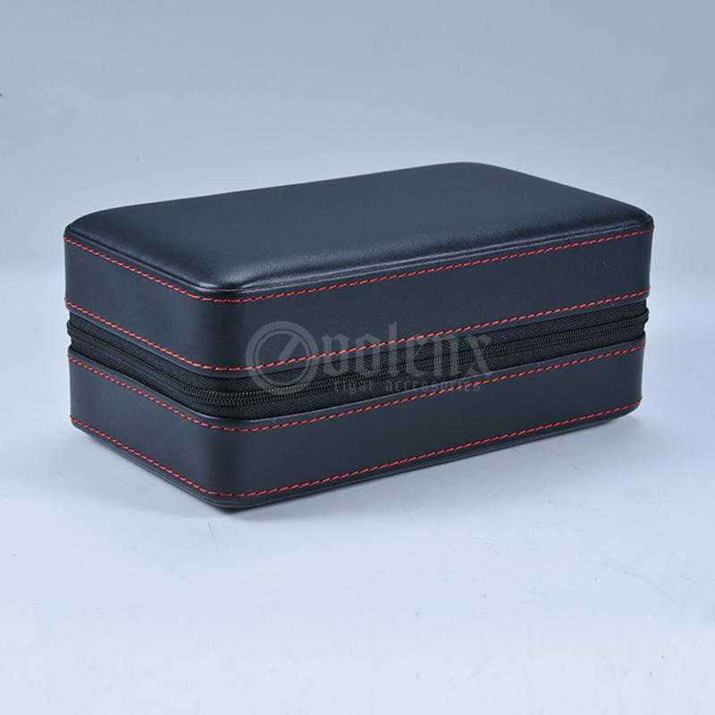 Promotional genuine leather box 6CT cedar wood travel cigar case 12