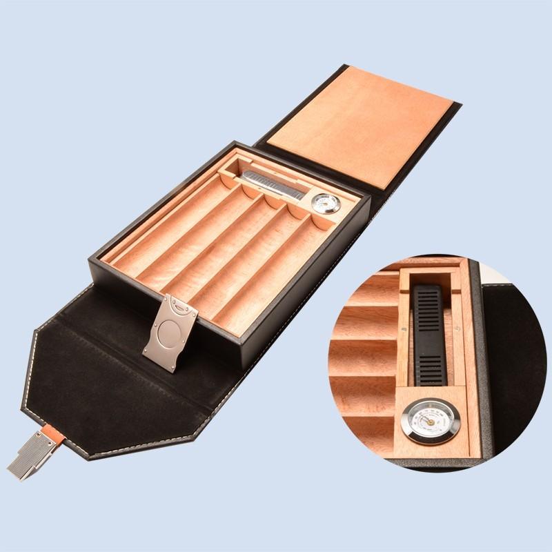 Handmade Black Cigar Box Humidor Leather Travel Case 5